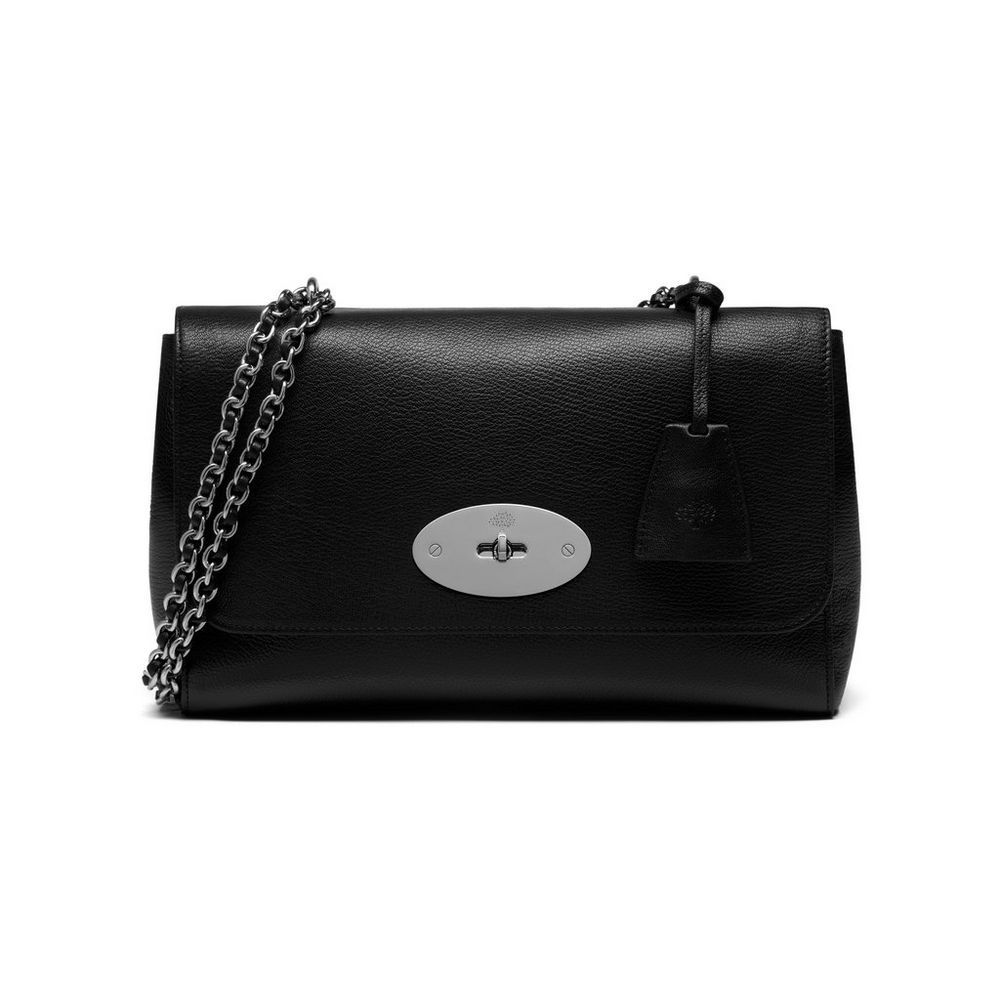 39425373bba7 Mulberry - Medium Lily in Black Glossy Goat With Silver Tone ...