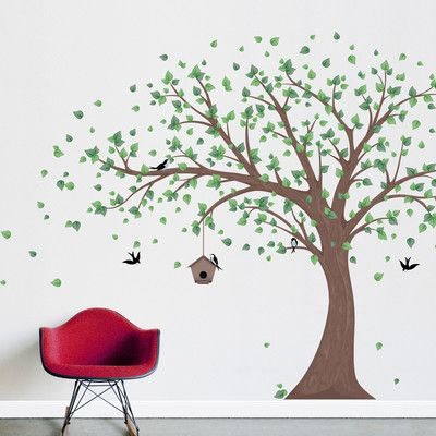 Wallums Wall Decor Printed Windy Tree With Birdhouse Wall Decal