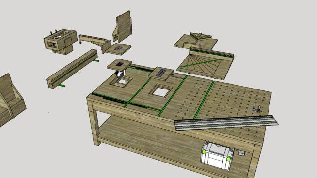 Table et gabarits mft scie et d fonceuse sous table festool diy 3d warehouse menuiserie - Defonceuse sous table festool ...