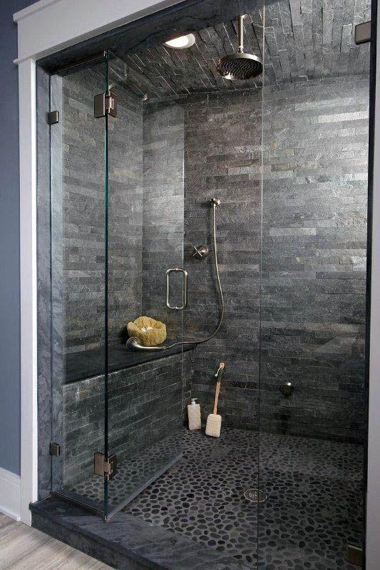 Cute Walk In Shower Tile Ideas Pinterest Just On Indoneso Home Design | Modern Shower Design, Stone Shower, Grey Bathroom Tiles