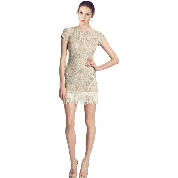 9d985a6e548b Aidan Mattox Beaded Fringe Hem Cocktail Dress (394405101) ($317) ❤ liked on  Polyvore featuring dresses, champagne, beaded dress, sheath dress, ...