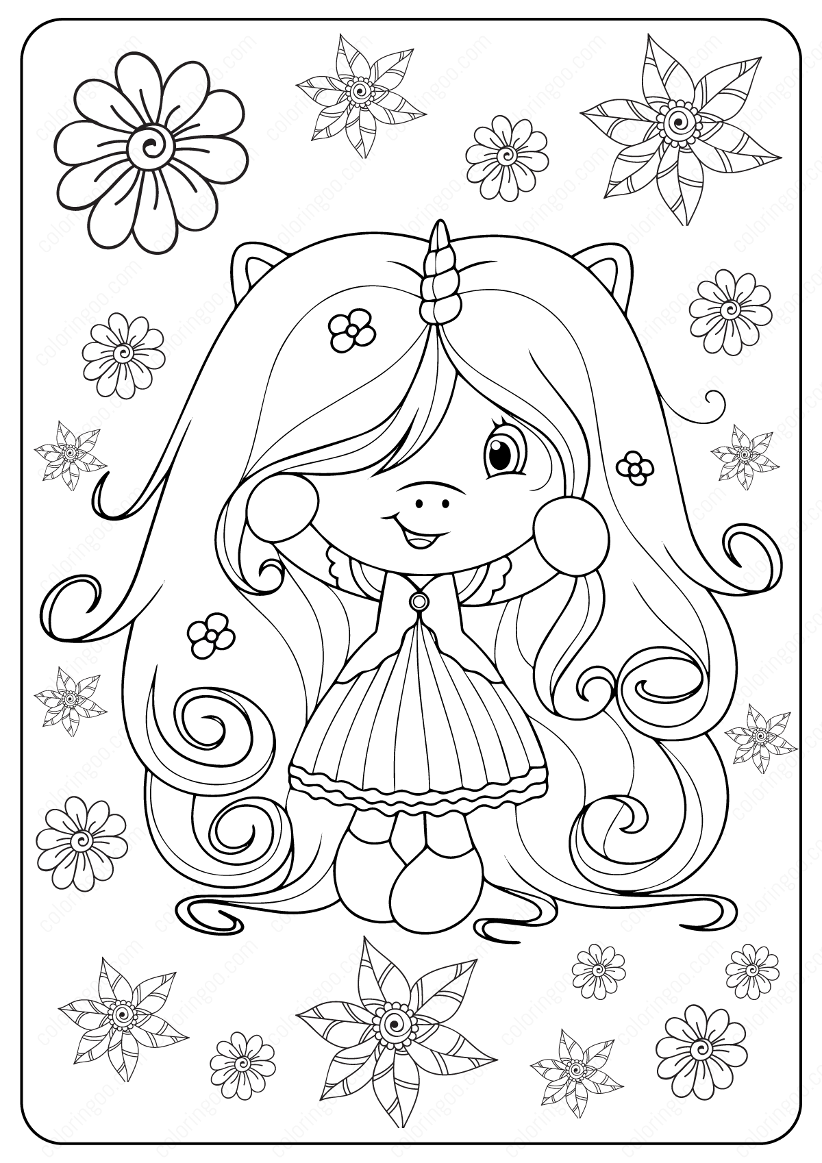 Printable Long Haired Unicorn Girl Coloring Pages