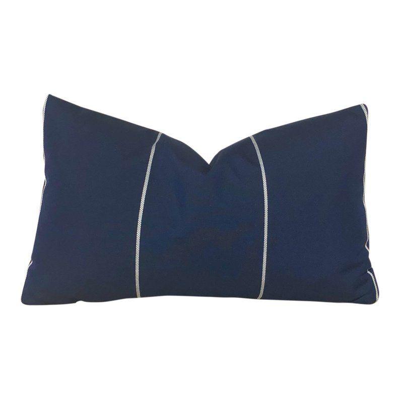 Sunbrella Striped In Navy Blue Outdoor Lumbar Pillow Cover Etsy Lumbar Pillow Cover Outdoor Pillow Covers Pillows