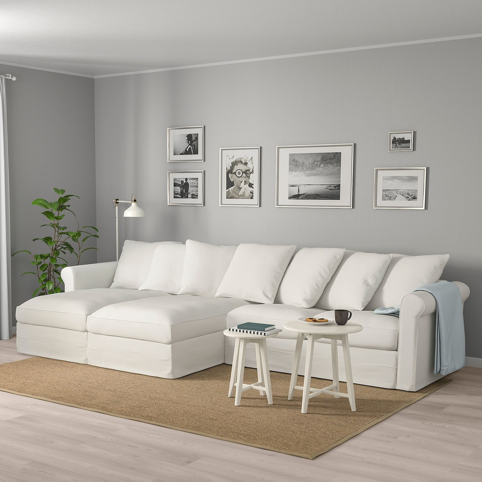 Gronlid Sectional 4 Seat With Chaise Inseros White Order Here Ikea In 2020 Deep Sofa Ikea Sofa Deep Seating