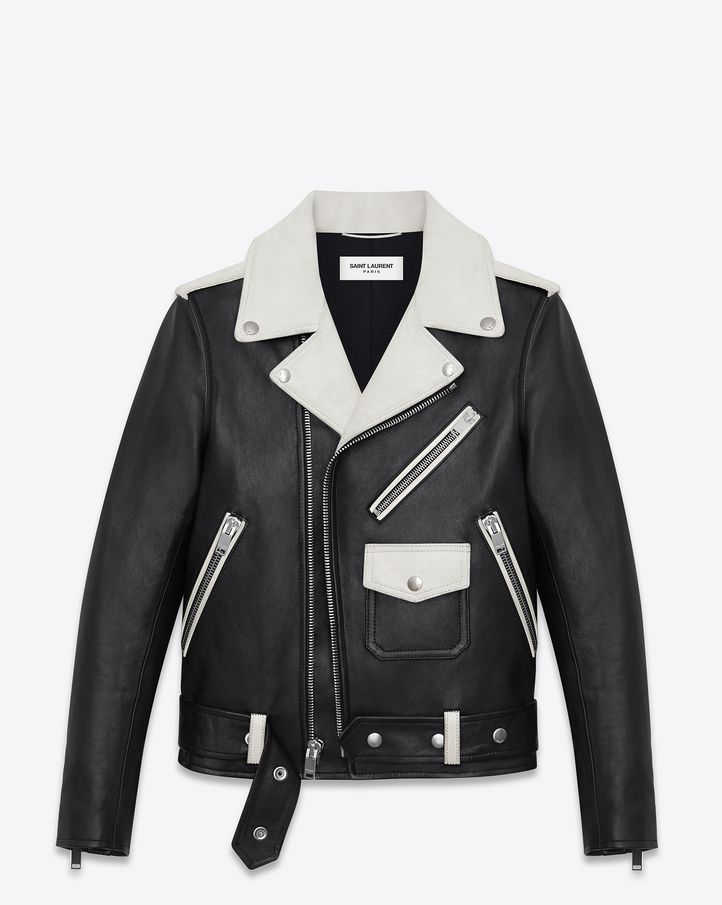 7d509ac99 Saint Laurent Classic Motorcycle Jacket in Black and White Leather ...