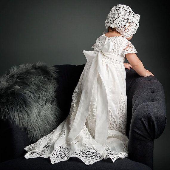 Doop jurk & Bonnet 'Grace' ivoor Lace doopsel door BabyBeauandBelle