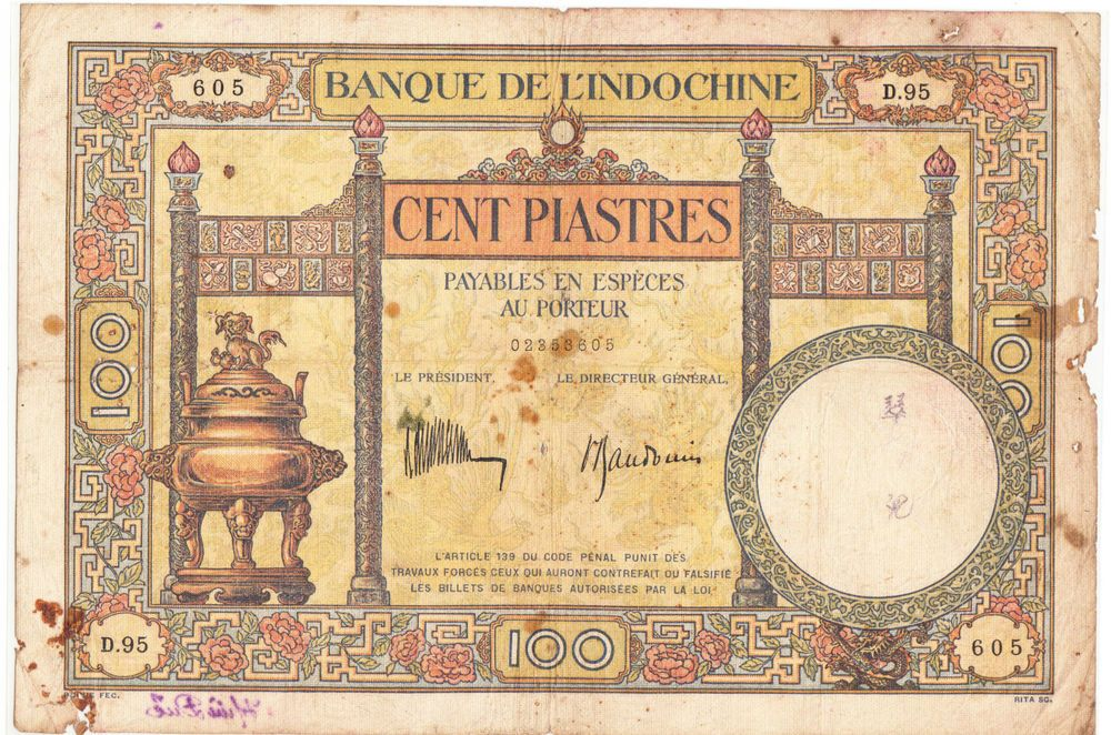 French Indochina 100 piastres banknote ND (1932-1935) pick # 51c - note payables