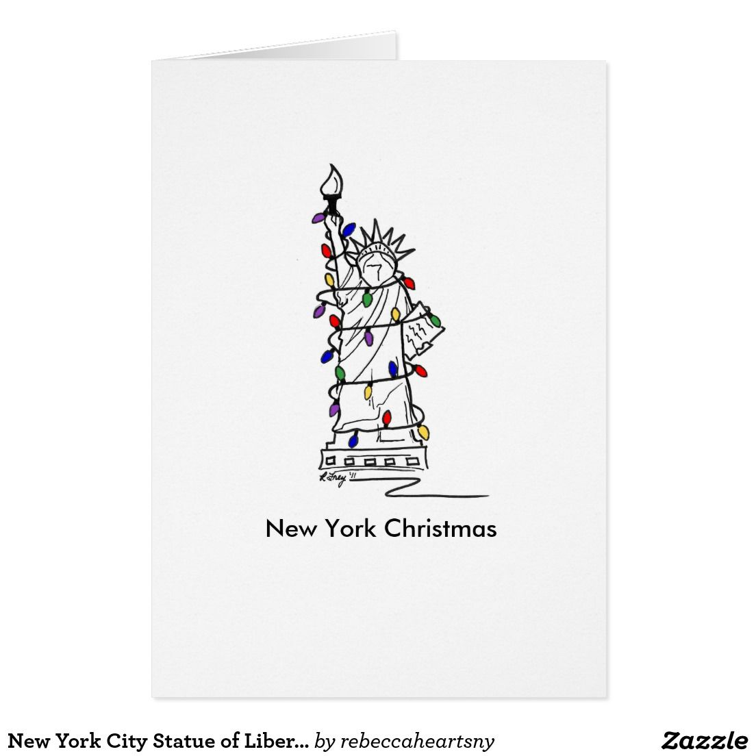 New York City Statue of Lady Liberty NYC Christmas Holiday Card ...