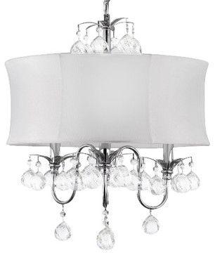 Modern White Drum Shade Crystal Ceiling Chandelier Pendant