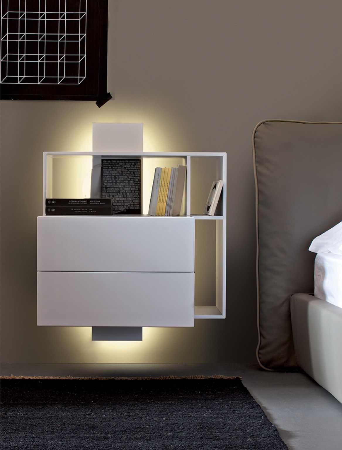 Wall Mounted Bedside Tables Wallmounted Bedside Table With Drawers Contatto Estel Casa Line