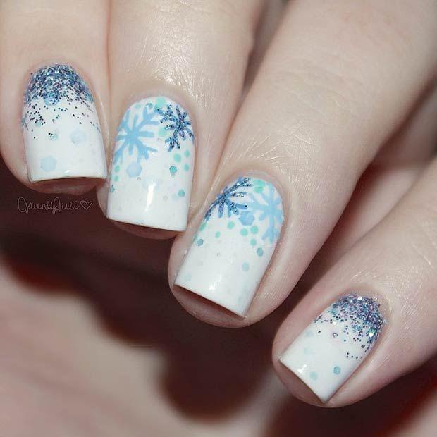 31 Cute Winter Inspired Nail Art Designs Stayglam Beauty Nails Snowflake Nail Art