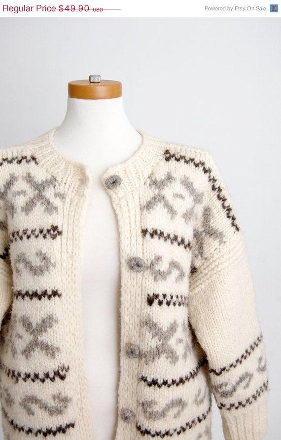 vintage fair isle cardigan ski sweater / handmade nordic cardigan ...