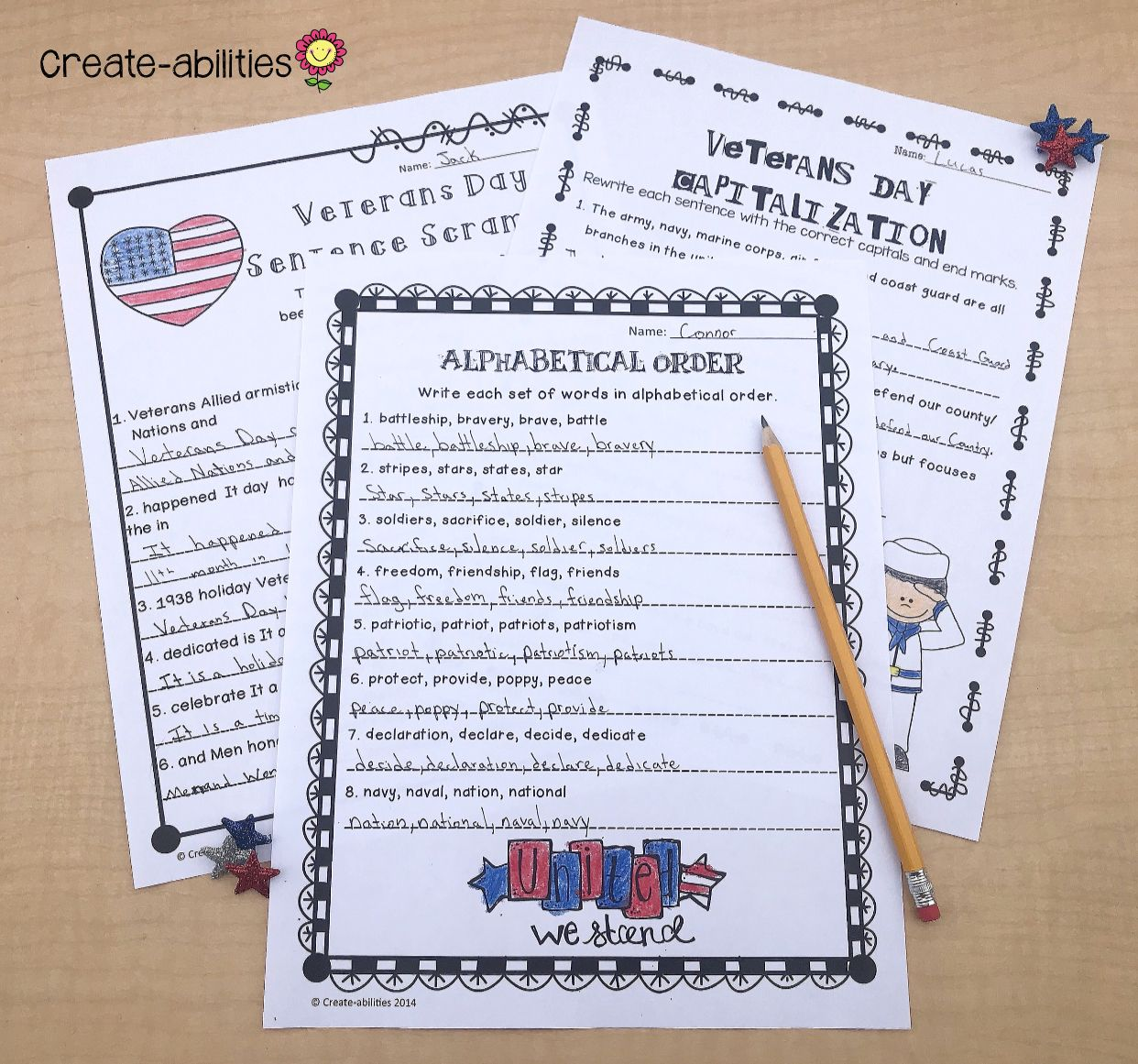 Veterans Day Reading And Writing Activities