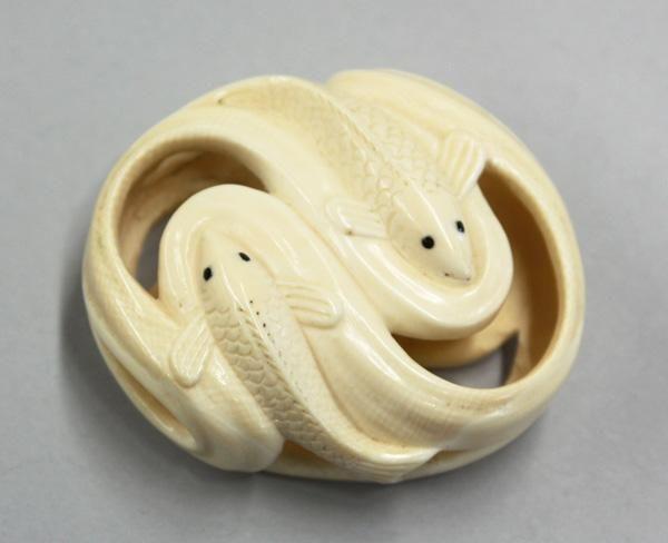Japanese Ivory Netsuke, Fish, Signed