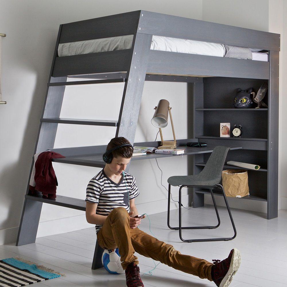 julien kids loft bed  desk in brushed grey pine  loft bed desk  - julien kids loft bed  desk in brushed grey pine
