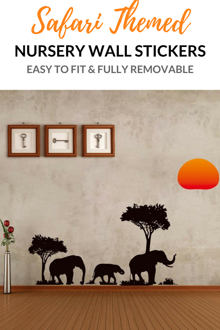 Elephants african sunrise wall sticker nursery wall decor
