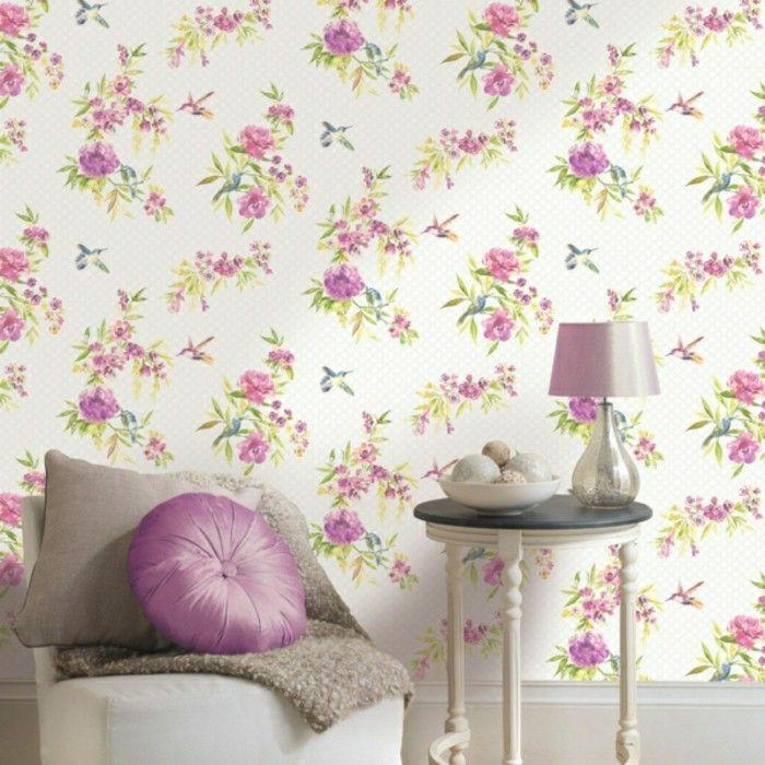 wohnzimmer tapeten ideen florale muster im shabby chic stil ...