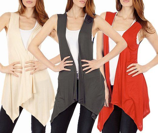 3 Pack Sleeveless Light Weight Flyaway Cardigan Vest with