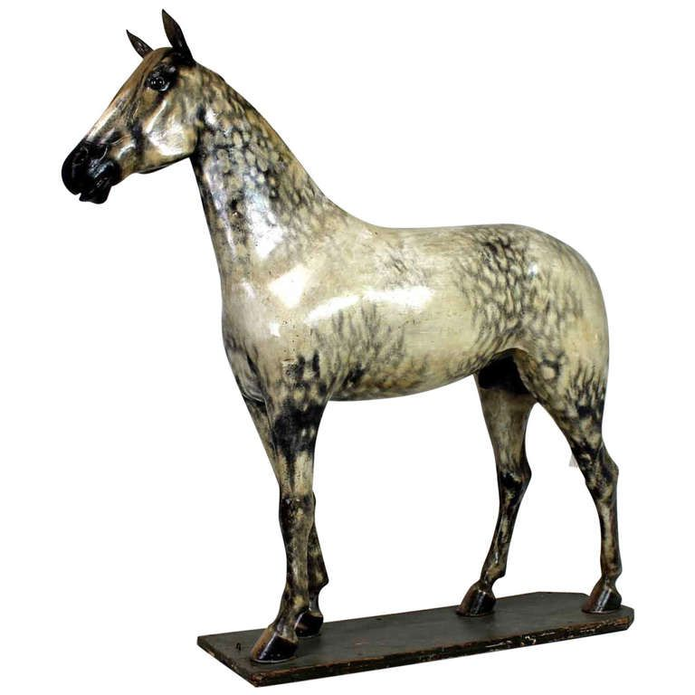 19th century life sized (seventeen hand) saddler's model of a Windsor grey stallion horse, used to display equestrian tack.The horse was commissioned in the latter part of the 19th century for a saddlers called Wright's of Huntley, Scotland.