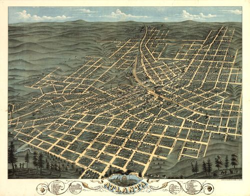 Historical Map Of Atlanta Ga 1871 Atlanta Map Birds Eye View Map Panoramic Map