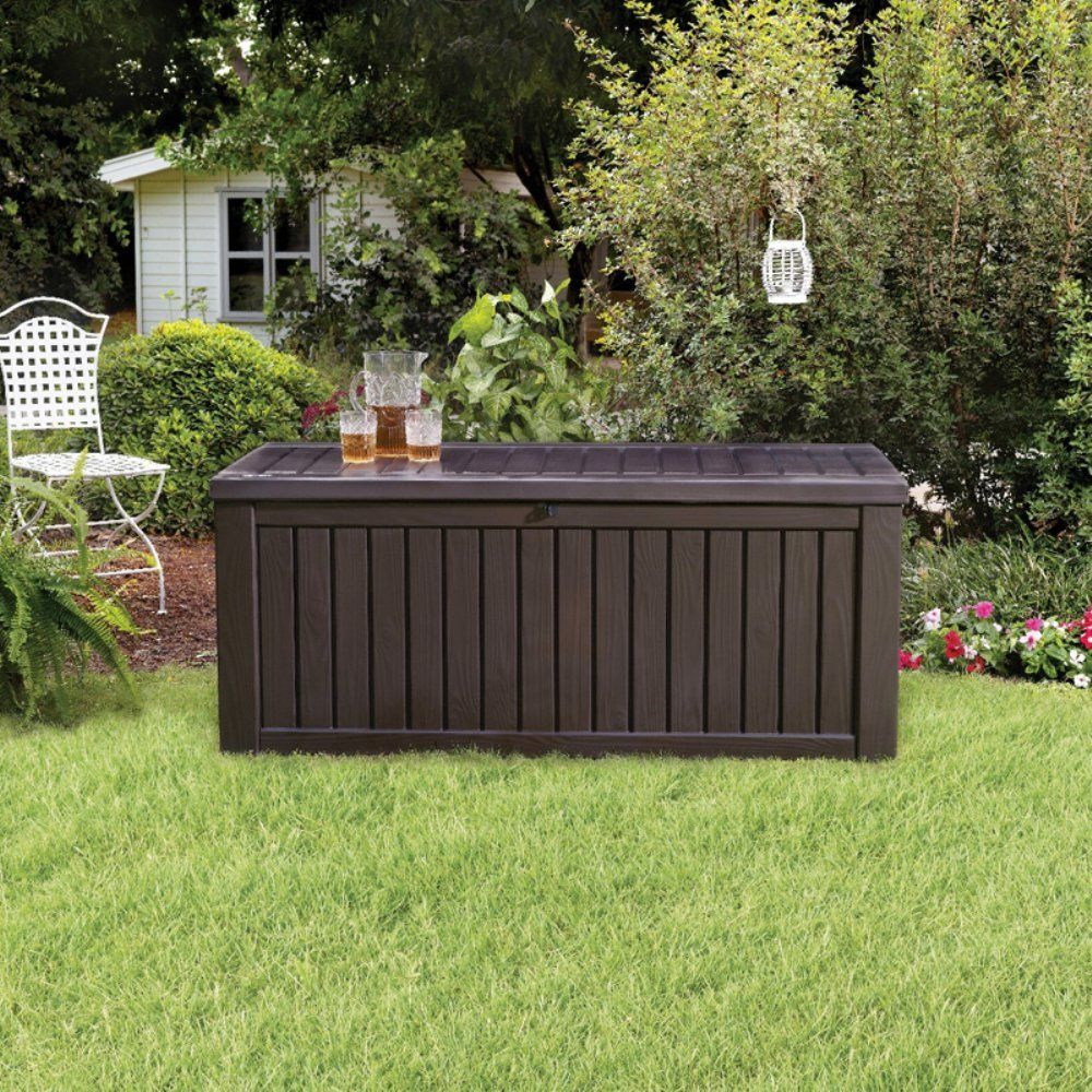 Deck Storage Box 150 Gal Outdoor Patio Wood Panels Pool Container