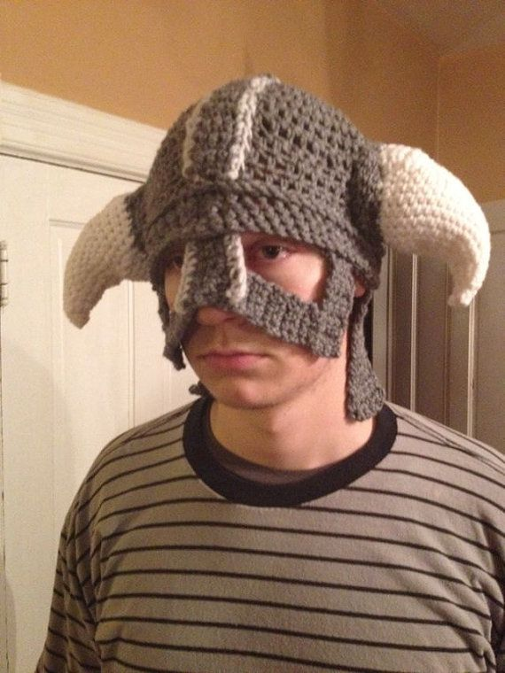 Skyrim Dragonborn Crochet Iron Helmet Replica... I want it!! | Elder ...