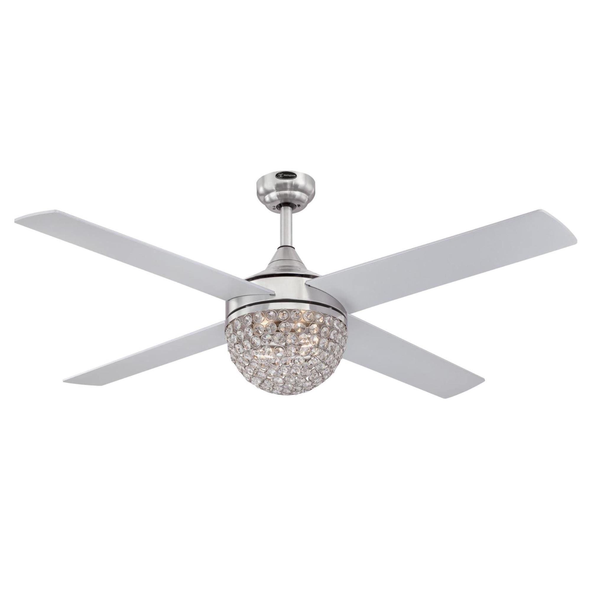 Westinghouse Kelcie 52 Inch Indoor Brushed Nickel Ceiling Fan Dimmable Led Light Kit With Crystal Jewel Shade Remote Control Included In 2021 Ceiling Fan With Remote Ceiling Fan Ceiling Fan Light Kit
