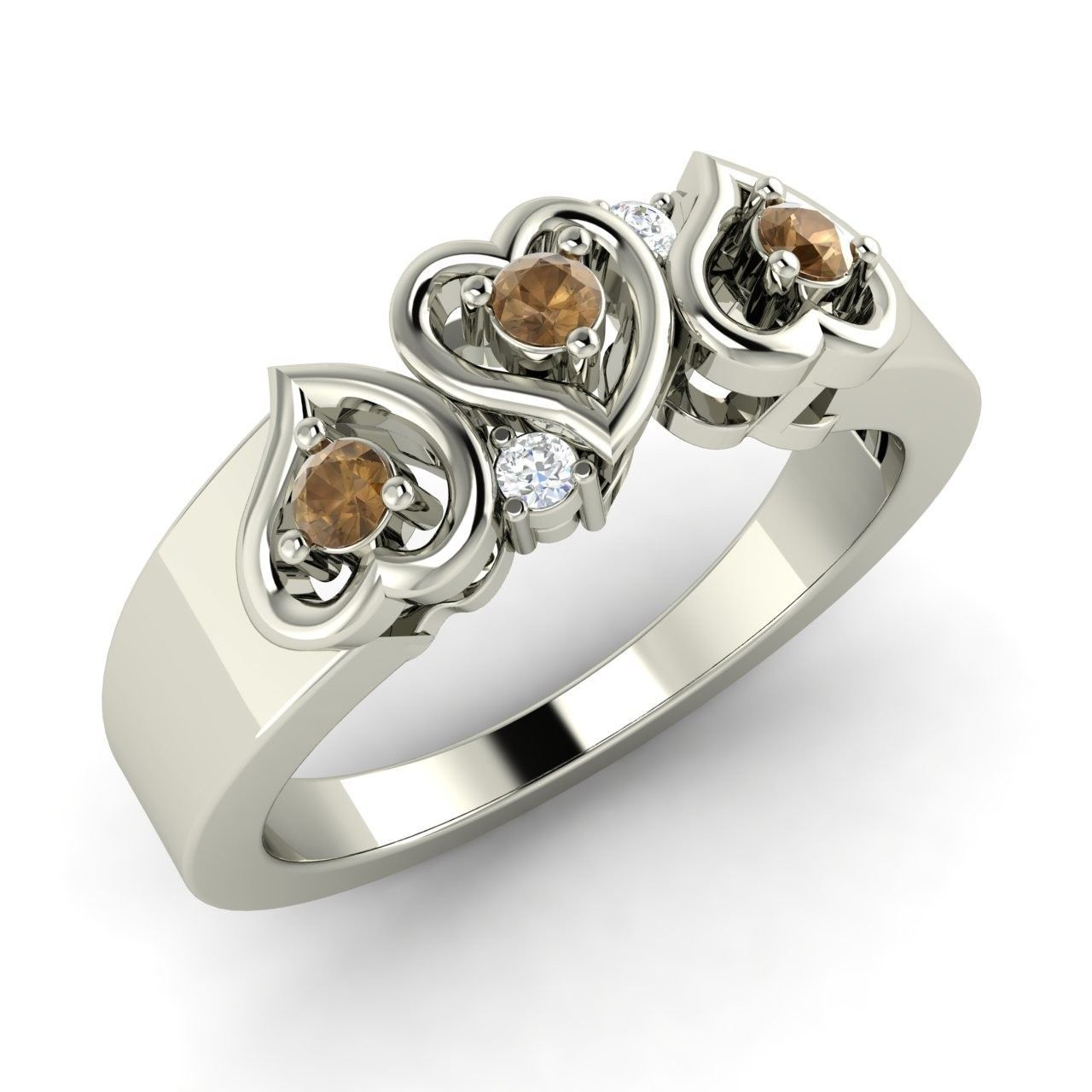 15 Brown Diamond Amp Si Diamond Heart Design Ring In 14k