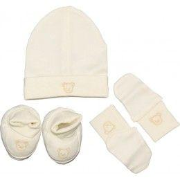 Kit naissance 3 pièces mixte   Bonnet, chaussons, moufles en coton écru d8f6fc2121f