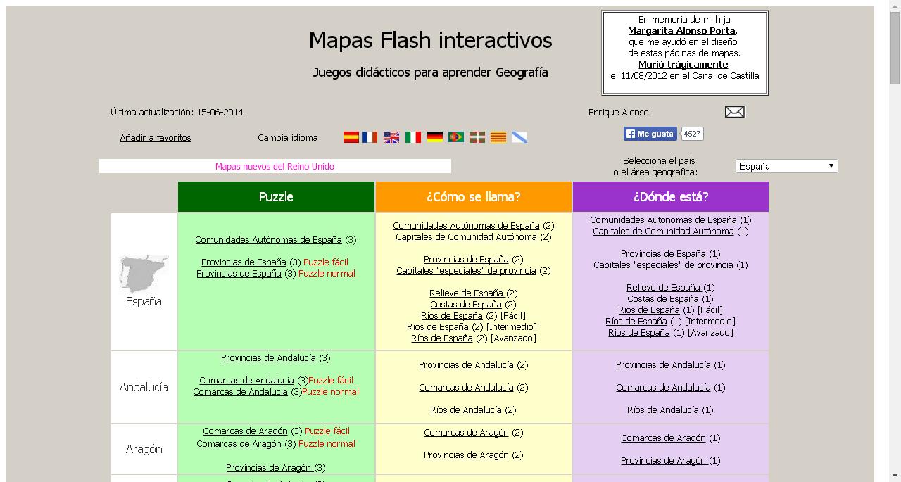 Mapas interactivos flash  Enrique Alonso  paginas con recursos