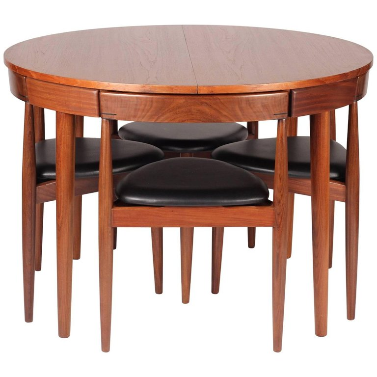 Mid Century Modern Dining Table And Six Chairs Model Roundette By