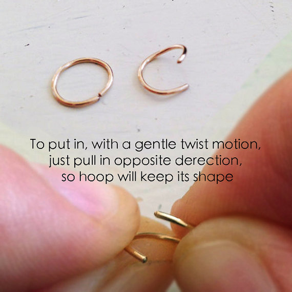 Tiny Nose Hoop Thin Hoop Nose Stone Nose Ring By Junelittleshop