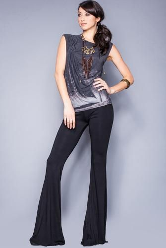 6b2161760815c3 Saint Grace Ashby Flare Pant in Black. Available at http://evolvefitwear.