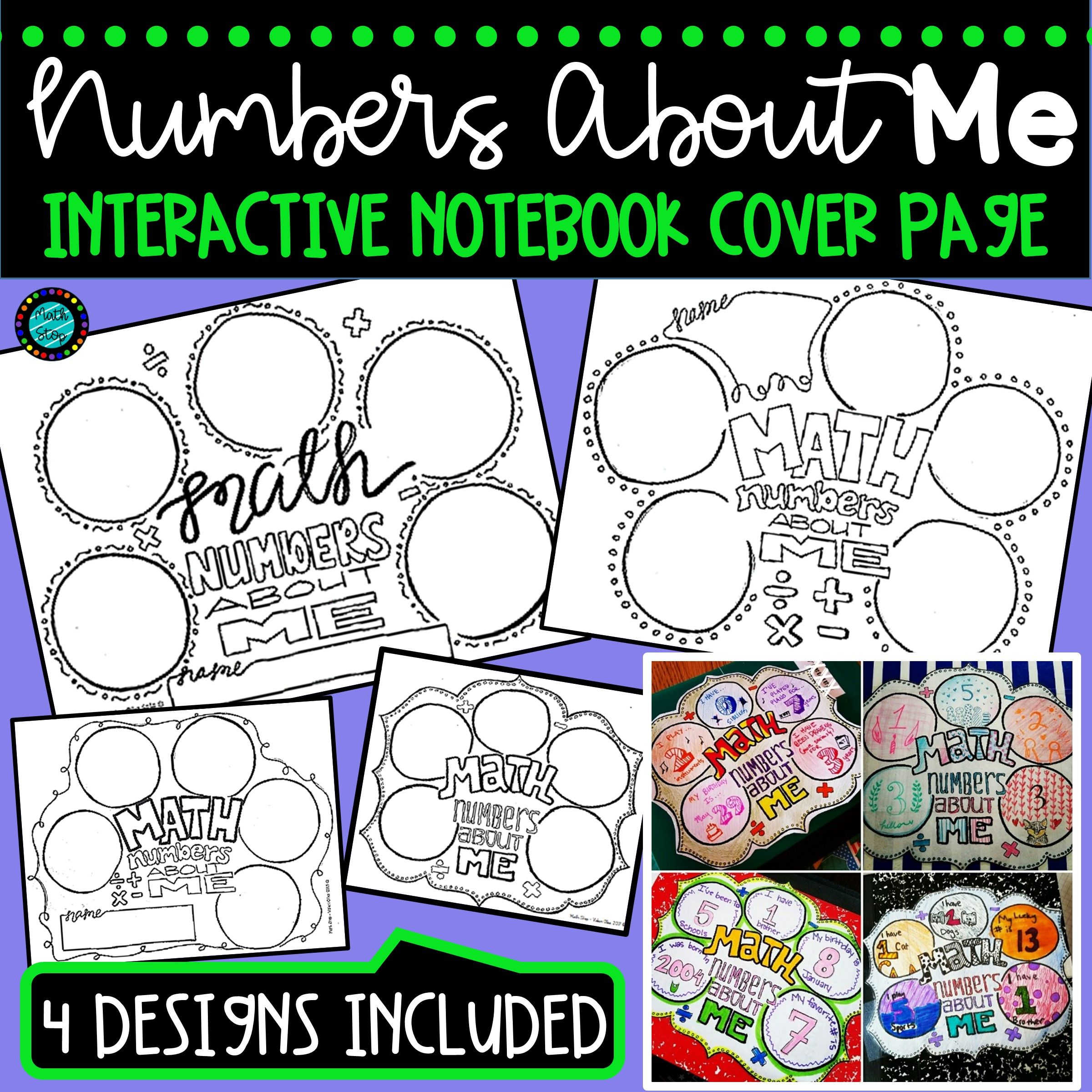 numbers about me cover page (4 designs) | random | pinterest | math