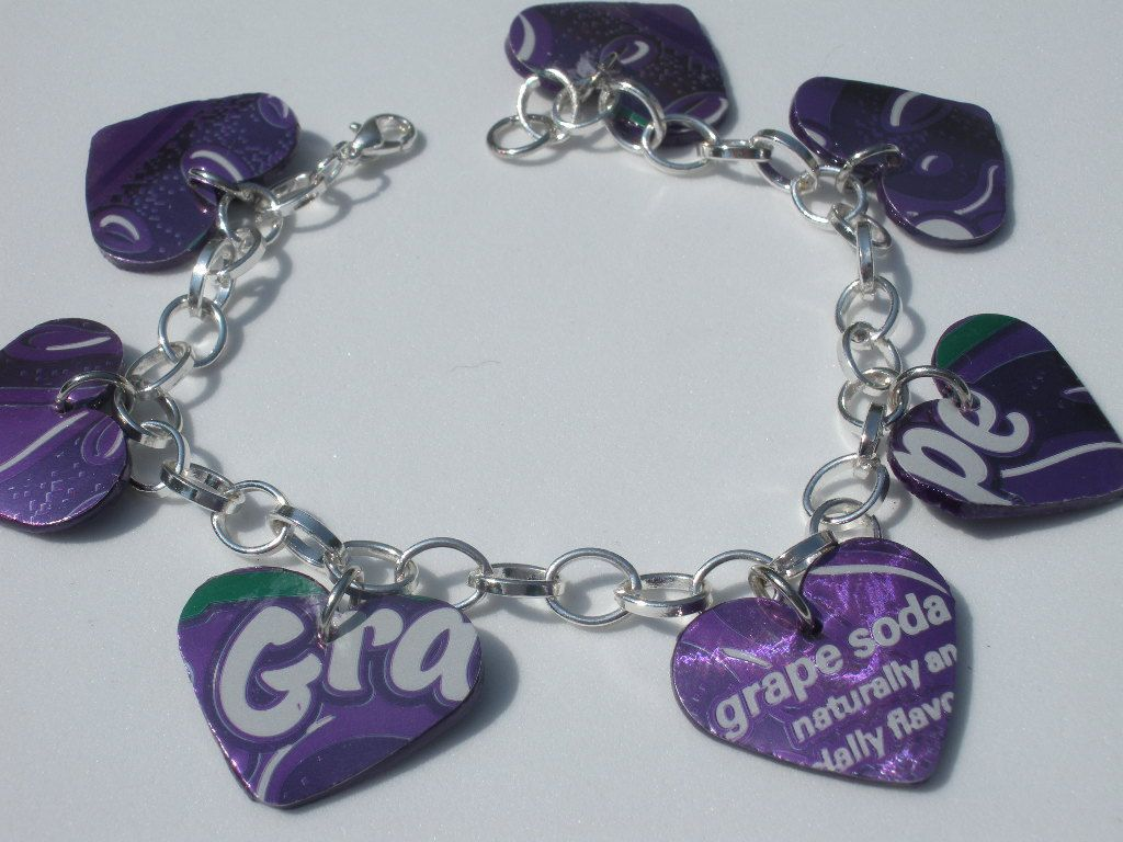 Clever Use Of Recycled Soda Can Heart Charm Bracelet Graph