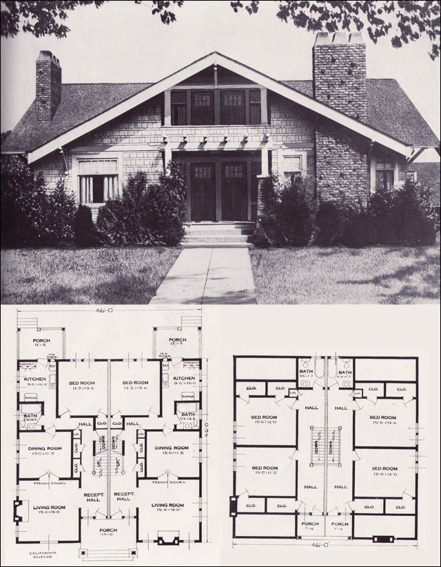 C 1923 Standard Homes Co The California Technically A Duplex But Open It Into One Single House An Craftsman House Plans Craftsman House Modern House Plans