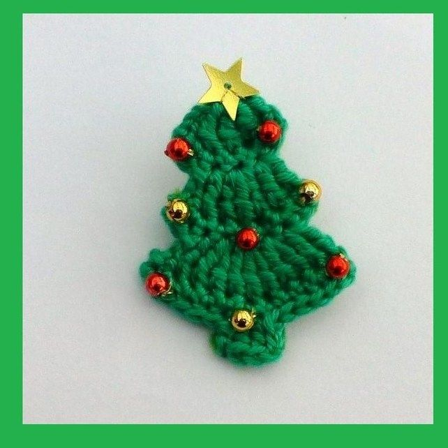 Crochet Christmas tree brooch Crocheting ♡ Pinterest Crochet