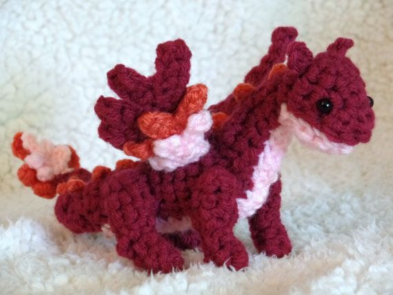 Such a clever name, too! Crochet Dragon Pink Cranberry Plush Emberry by BuggabeeBaubles