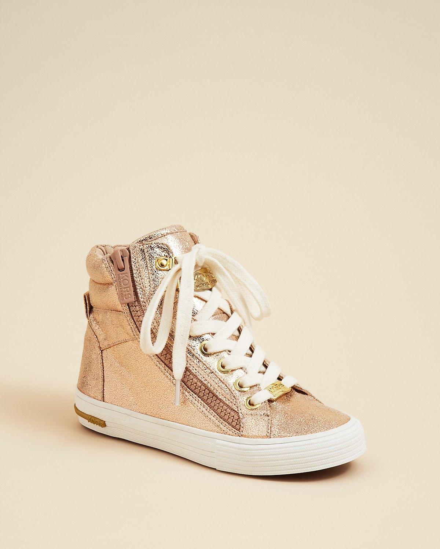 55a7fc173a27 KORS Michael Kors Girls  Gold Sparkle High Top Sneakers - Little Kid ...