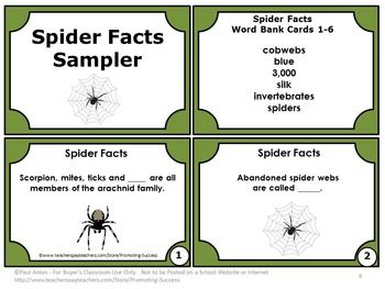 Free Halloween Spiders Activities Games With Task Cards Spider Facts Free Science Task Cards Spider Fact Science Task Cards