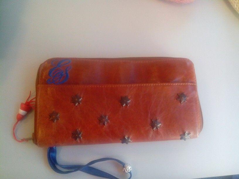 ES Hand gemaakte leren portemonnee met veel vakken  voor passen en mobiel
