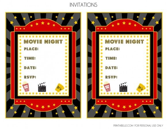 FREE Movie Night Party Printables by Printabelle Pinterest Night - movie invitation template free
