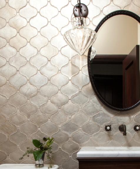 Silver Arabesque Tile Backsplash Arabesque Tile Tile Bathroom