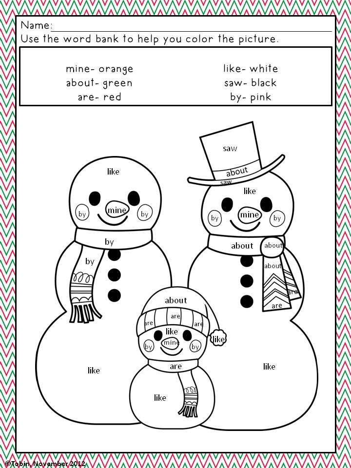 color by numbersight word sheets for christmas