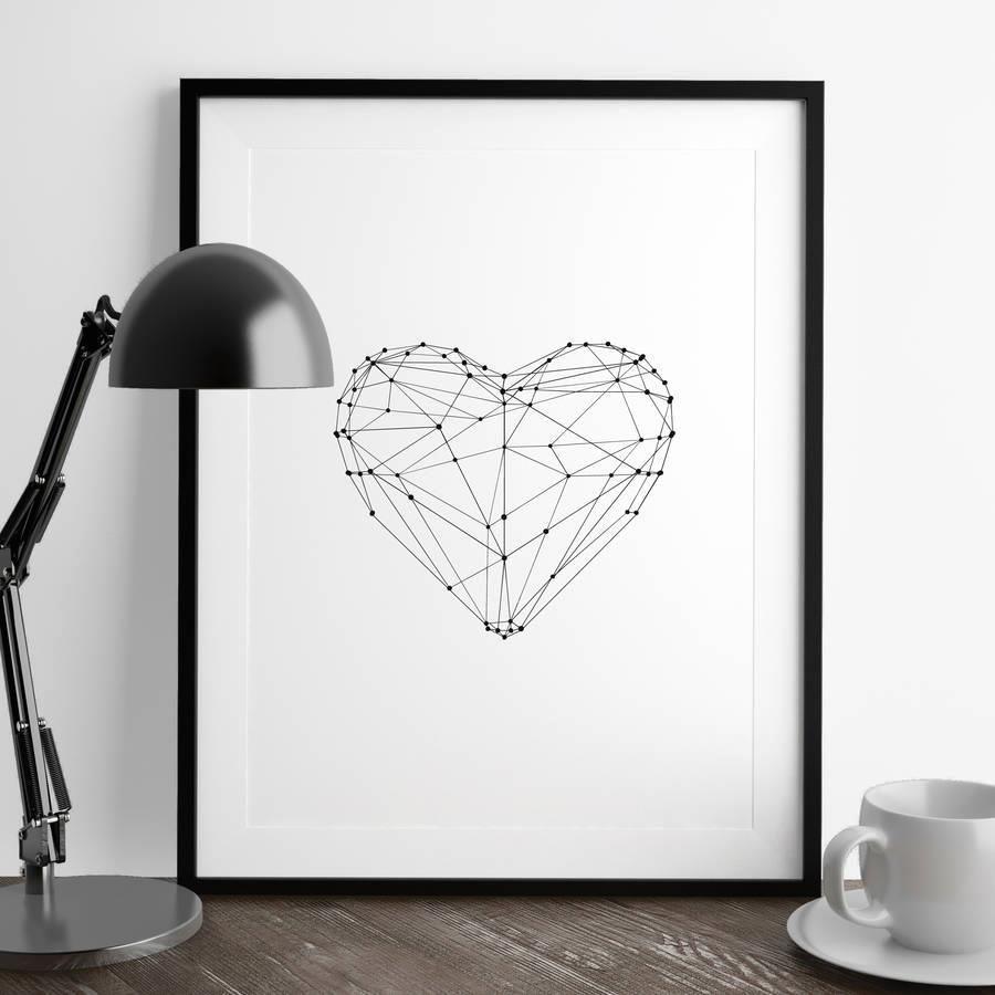 Polygon Love Heart http://www.amazon.com/dp/B0176N9TE6   motivationmonday print inspirational black white poster motivational quote inspiring gratitude word art bedroom beauty happiness success motivate inspire