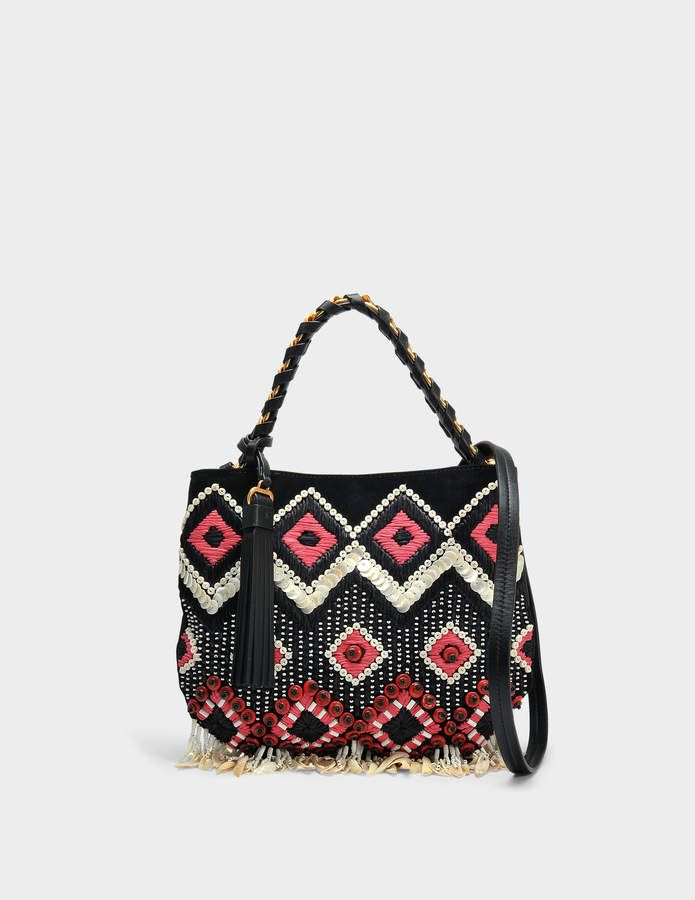 89debf429ba Tory Burch Brooke Embellished Small Hobo Bag in Black Calfskin
