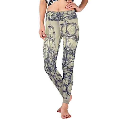 WDYSECRET Nautical Compass Polyester Stretch Tight DIY Yoga Pants >>> Read more reviews of the product by visiting the link on the image.(This is an Amazon affiliate link)