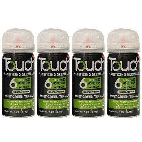 Touch Sanitizing Germblock 4pak Mint Green Tea Aloe You Can