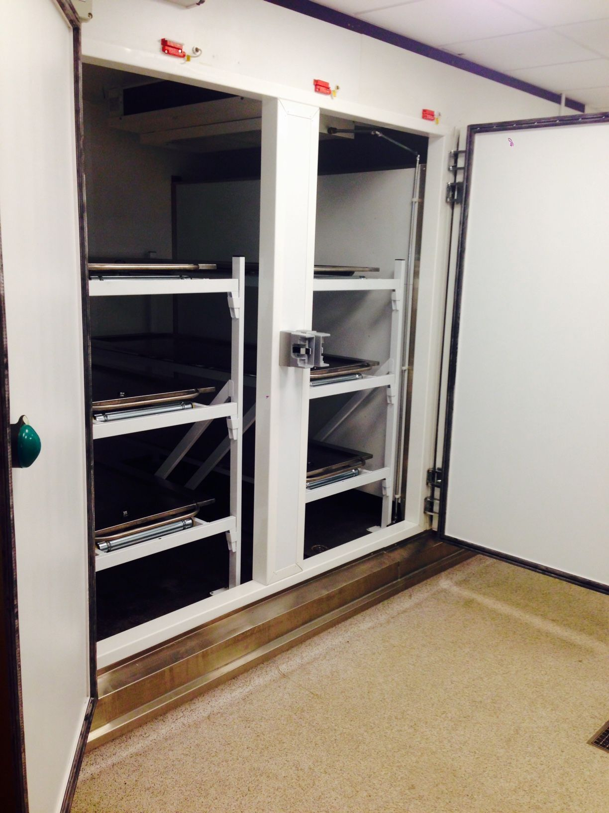 Mortuary fridge for storing deceased people in a hospital