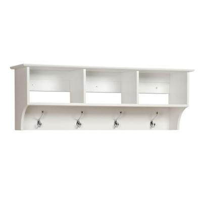 Coat Hooks Home Depot Beauteous Prepac Monterey Wallmounted Coat Rack In White  Mudroom Shelves Decorating Design